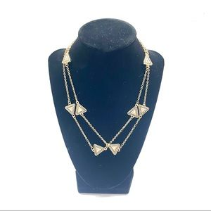NEW LUXE Brand Triangle Crystal Gold Tone Necklace